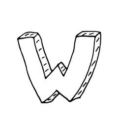 English alphabet - hand drawn letter W vector image