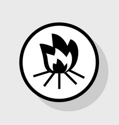 fire sign flat black icon in white circle vector image