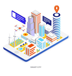 Flat color modern isometric - smart city vector