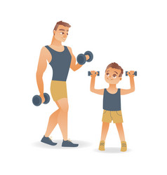 Flat man and kid boy doing dumbbell workout vector