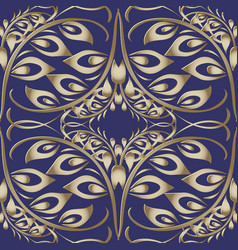 floral gold russian style 3d seamless pattern vector image
