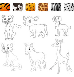 Game make the choice skin matching wild animals vector