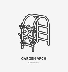 Garden arch with clambering plant flat line icon vector