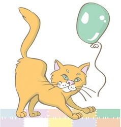 Ginger cat and balloon vector