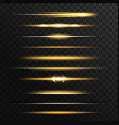 Golden and yellow light flashes glow lines vector