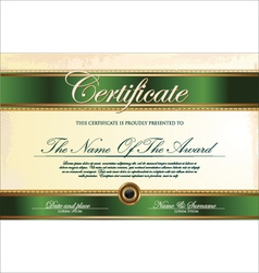 Green and gold Certificate template vector image
