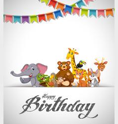 happy birthday animals card vector image