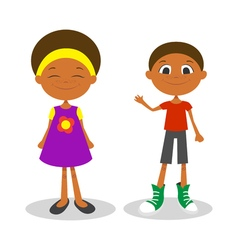 Happy young afro american boy and girl with vector