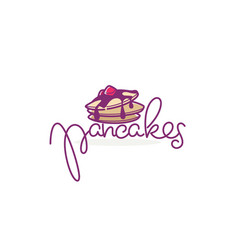 home made pancakes logo template doodle style vector image