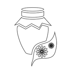 Honey jar pot icon outline style vector image