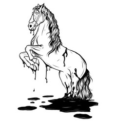 Horse jumping in a puddle drawing vector