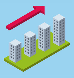 Isometric perspective infographic growing city vector