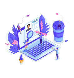 isometric small people look at resume together vector image