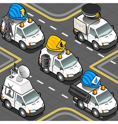 Isometric Workers Trucks vector image vector image