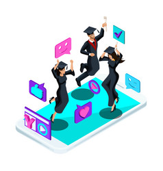 isometrics graduates girls and boys jumping vector image