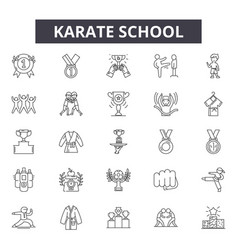 karate school line icons for web and mobile design vector image
