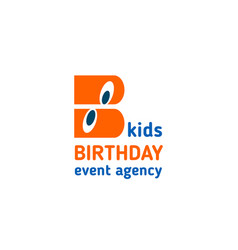 Kids birthday event agency letter b icon vector