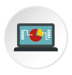 laptop with graph icon circle vector image