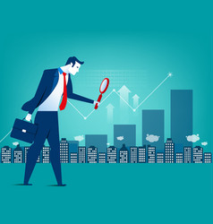 Leader businessman looking for inverstment vector