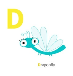 Letter D Dragonfly Zoo alphabet Insect English abc vector image