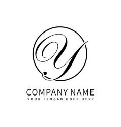 letter y script initial luxury logo design vector image