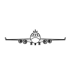 line front airplane vehicle fashion transport vector image