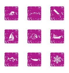 live bait icons set grunge style vector image
