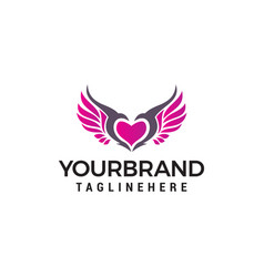 love wings logo design concept template vector image