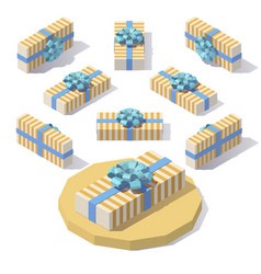 lowpoly striped gift box vector image