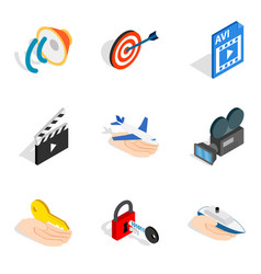 Mainframe icons set isometric style vector