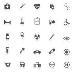 Medical icons with reflect on white background vector image