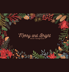 Merry and bright christmas greeting background vector