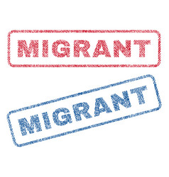 Migrant textile stamps vector