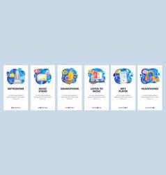 mobile app onboarding screens listen music vector image