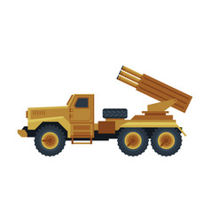 multiple rocket launcher military truck vector image