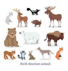 North american animals cartoon flat icons set vector