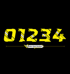 Numbers abstract sport glitch style in a set 01234 vector