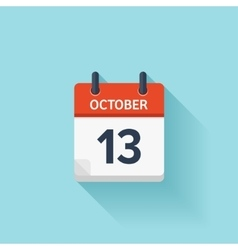 October 13 flat daily calendar icon Date vector image