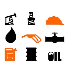 Oil production set of icons petroleum industry vector image