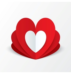 paper heart valentines day card flower concept vector image