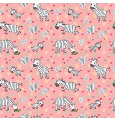 Pattern with cute zebras on a pink vector
