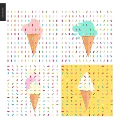 Pink Ice cream in a cone and pattern vector image