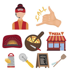 Pizza and pizzeria set icons in cartoon style big vector