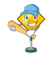 Playing baseball harm warning sign shaped on vector