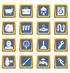 Plumber symbols icons set blue square vector