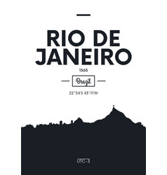 poster city skyline rio de janeiro flat style vector image