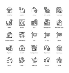 Real estate icons pack vector