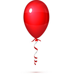 Red Balloon with ribbon isolated on white vector image