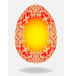 Red golden painted easter egg with a pattern of vector