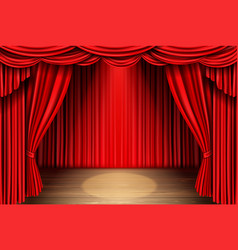 Red stage curtain for theater opera scene drape vector